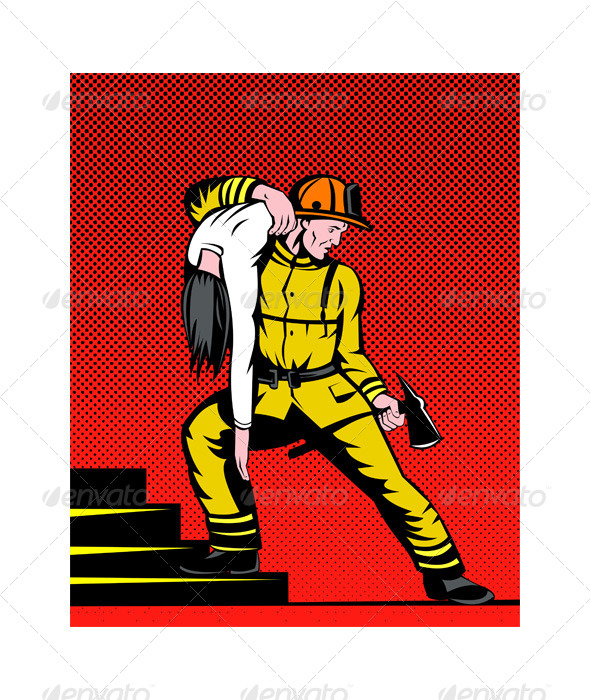 GraphicRiver Fireman Rescuing Woman 5208213