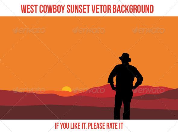 GraphicRiver West Cowboy Sunset 5211030