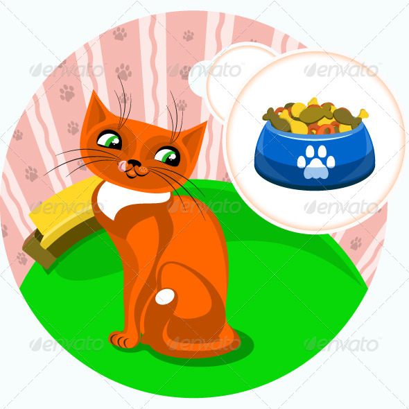 GraphicRiver Cute Cat with Food 5211118