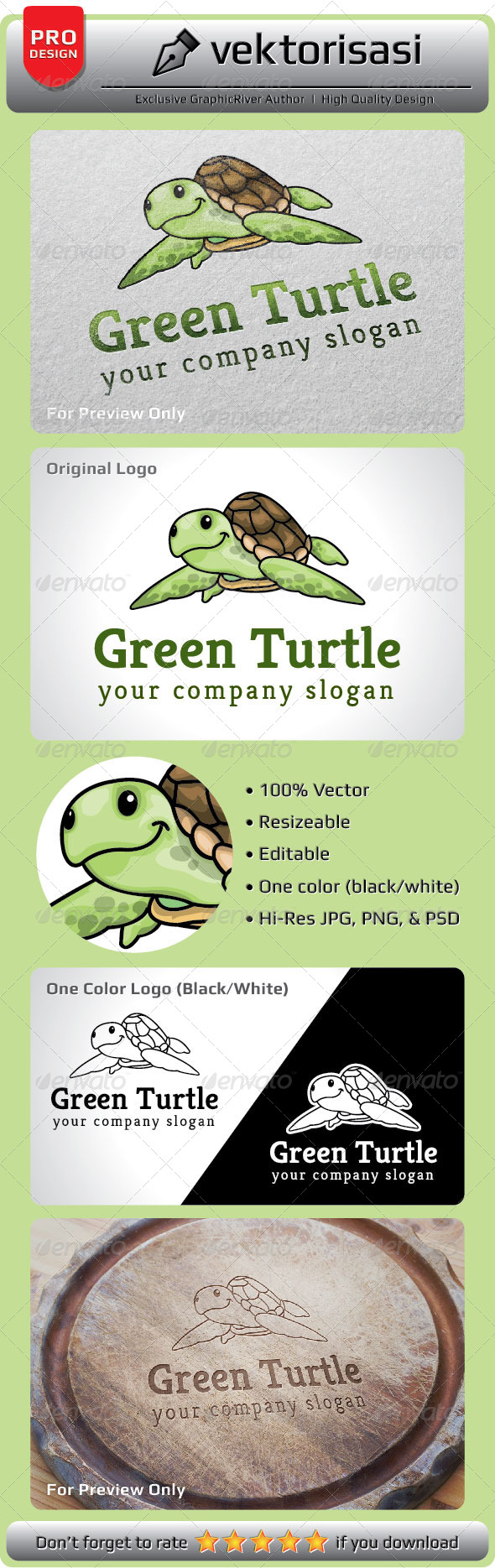 GraphicRiver Green Turtle Logo 5199604