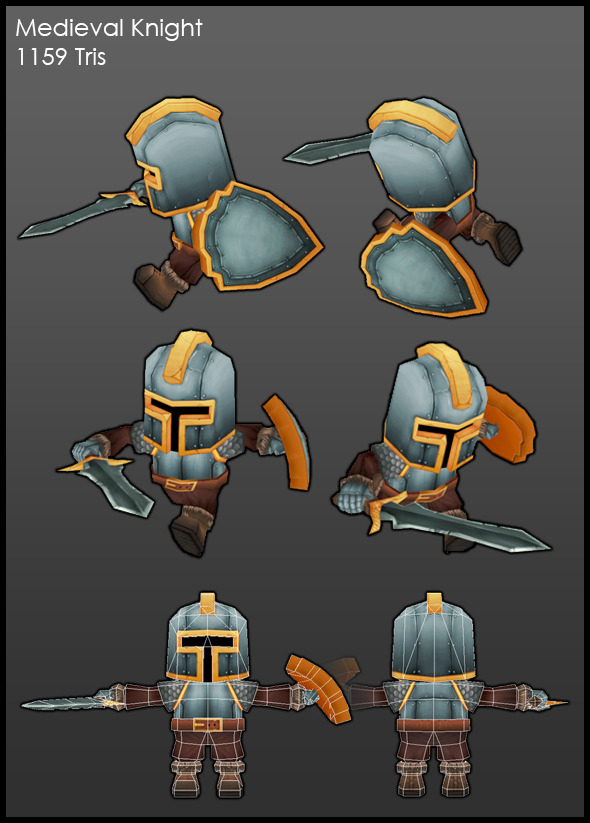 3DOcean Low Poly Medieval Knight 5213153