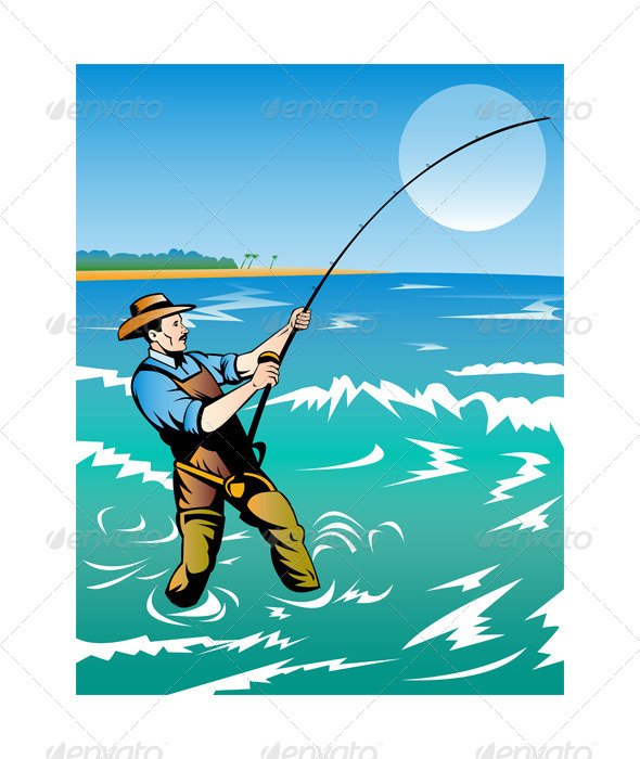 GraphicRiver Fisherman Surf Casting 5213293