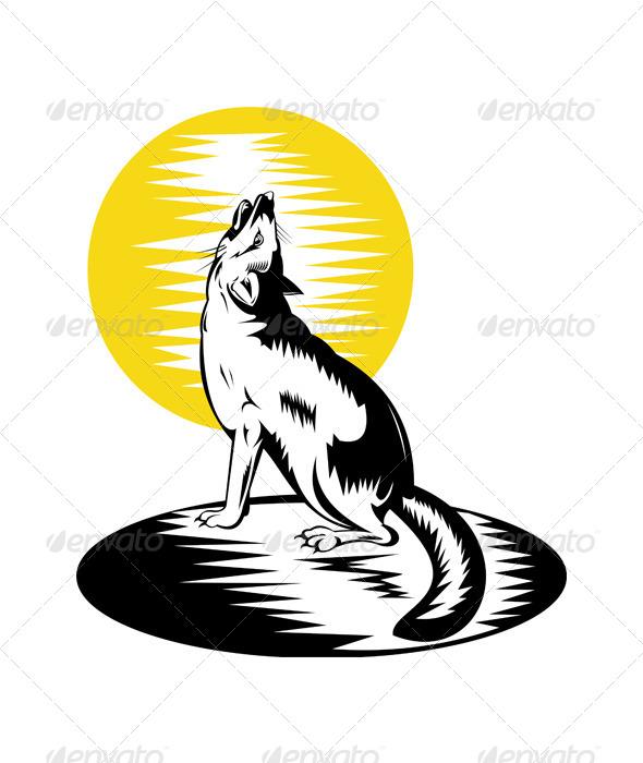 GraphicRiver Fox Wild Dog Howling 5213344