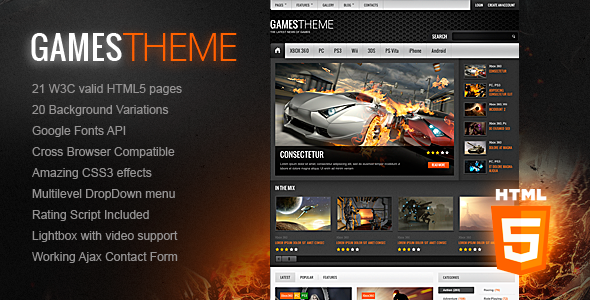 GamesTheme Premium HTML5/CSS3 Template - Entertainment Site Templates