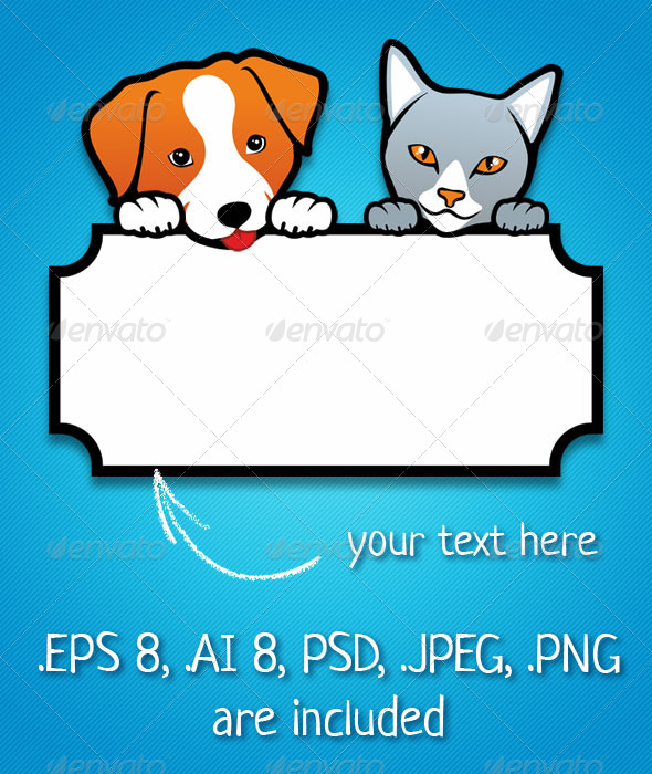 GraphicRiver Dog and Cat Holding a Blank Banner 5214025