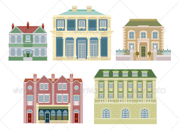 GraphicRiver Luxury old fashioned houses buildings 535395