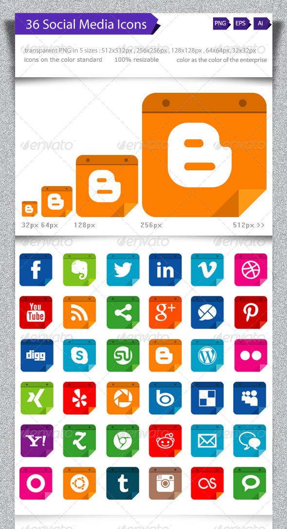 GraphicRiver 36 Social Media Icons 5216317