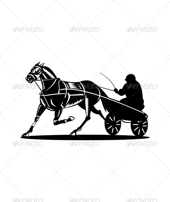 GraphicRiver Horse and Jockey Harness Racing Retro 5216924