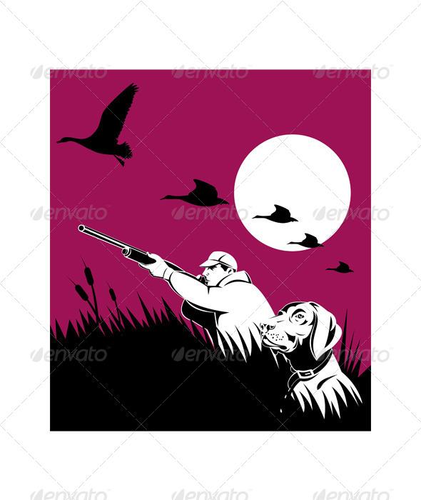 GraphicRiver Hunter Aiming Shotgun Retriever Dog 5216980