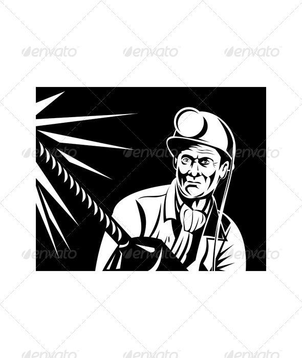 GraphicRiver Coal Miner Drilling Jackdrill Front Retro 5217207