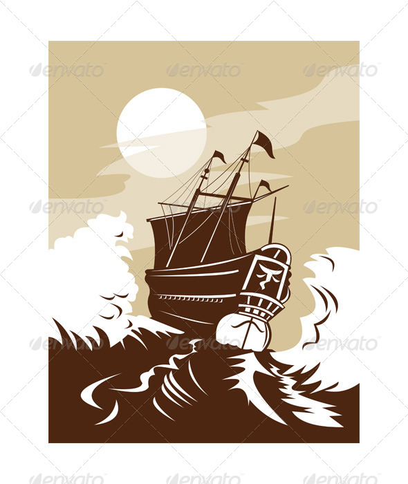 GraphicRiver Spanish Galleon Sailing Ship Rear Retro 5217352
