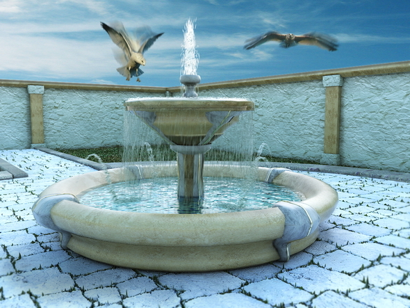 3DOcean Fountain with Particle System 5219379