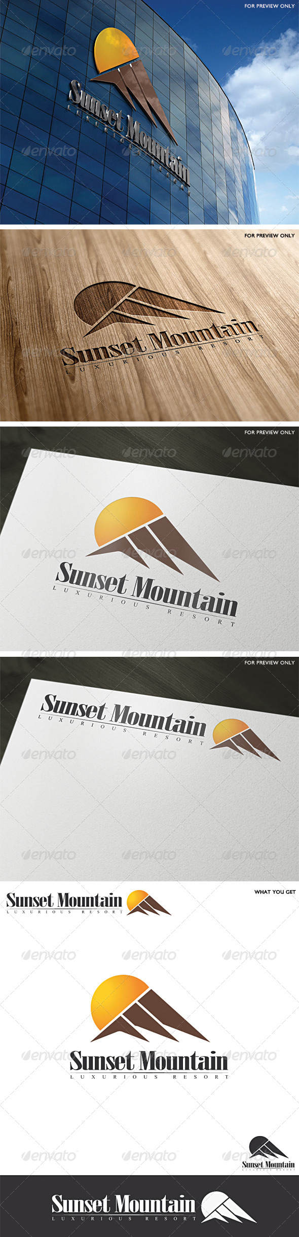 Sunset Mountain Resort Logo Template - Abstract Logo Templates