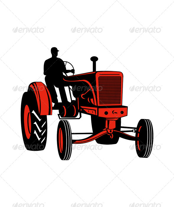 GraphicRiver Vintage Farm Tractor Plow Field Retro 5220325