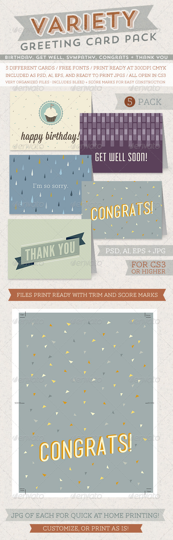 GraphicRiver Greeting Card Variety Pack 5220934