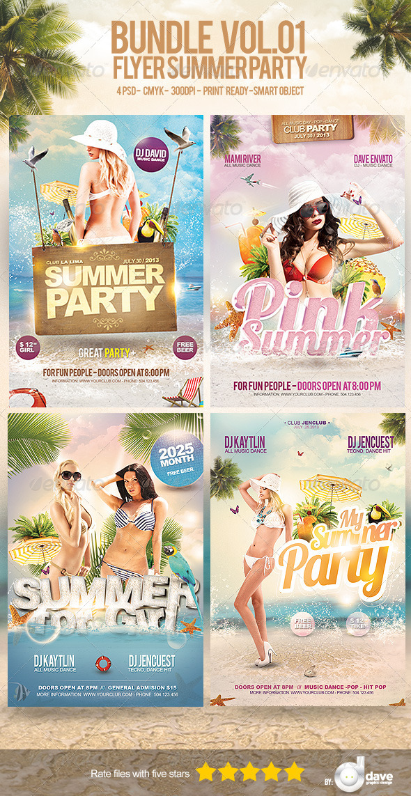 Bundle Flyer Summer Party Vol.1 - Clubs & Parties Events