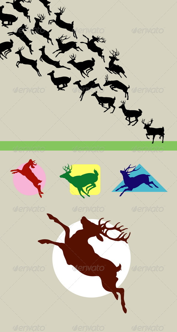 GraphicRiver Deer Running Silhouettes 5225437