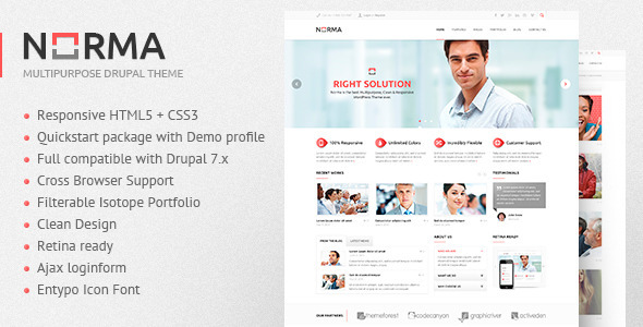 ThemeForest NORMA Clean & Responsive Drupal Theme 5226857