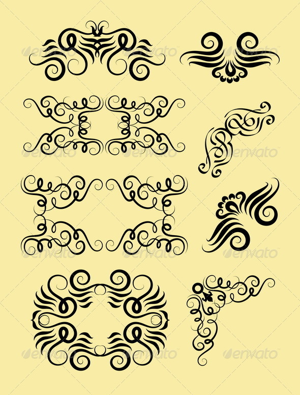 Curl Border and Corner Decorations - Flourishes / Swirls Decorative