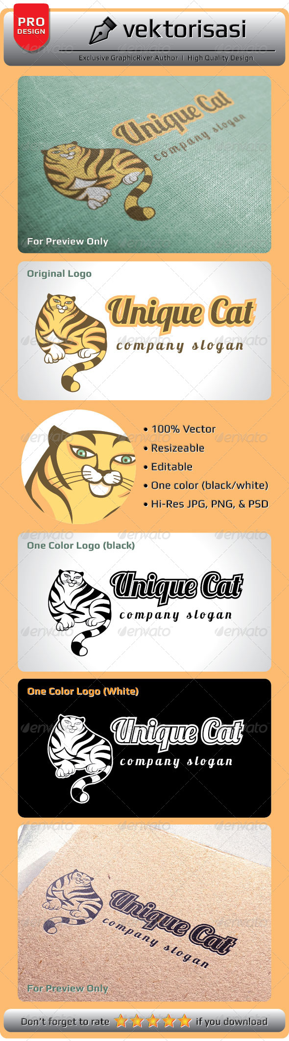 GraphicRiver Unique Cat Logo 5217813