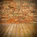 pine floor and brick wall - PhotoDune Item for Sale