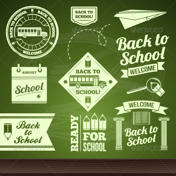 GraphicRiver School Set Labels 5229079