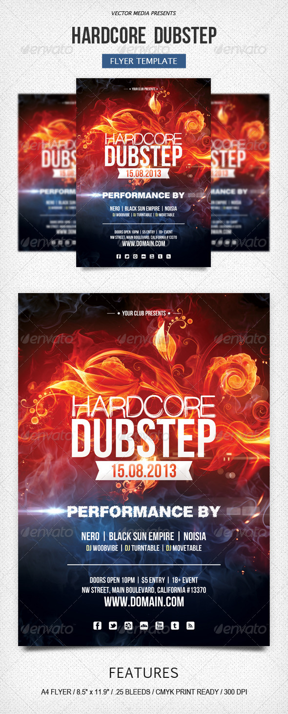 GraphicRiver Hardcore Dubstep Flyer 5230249