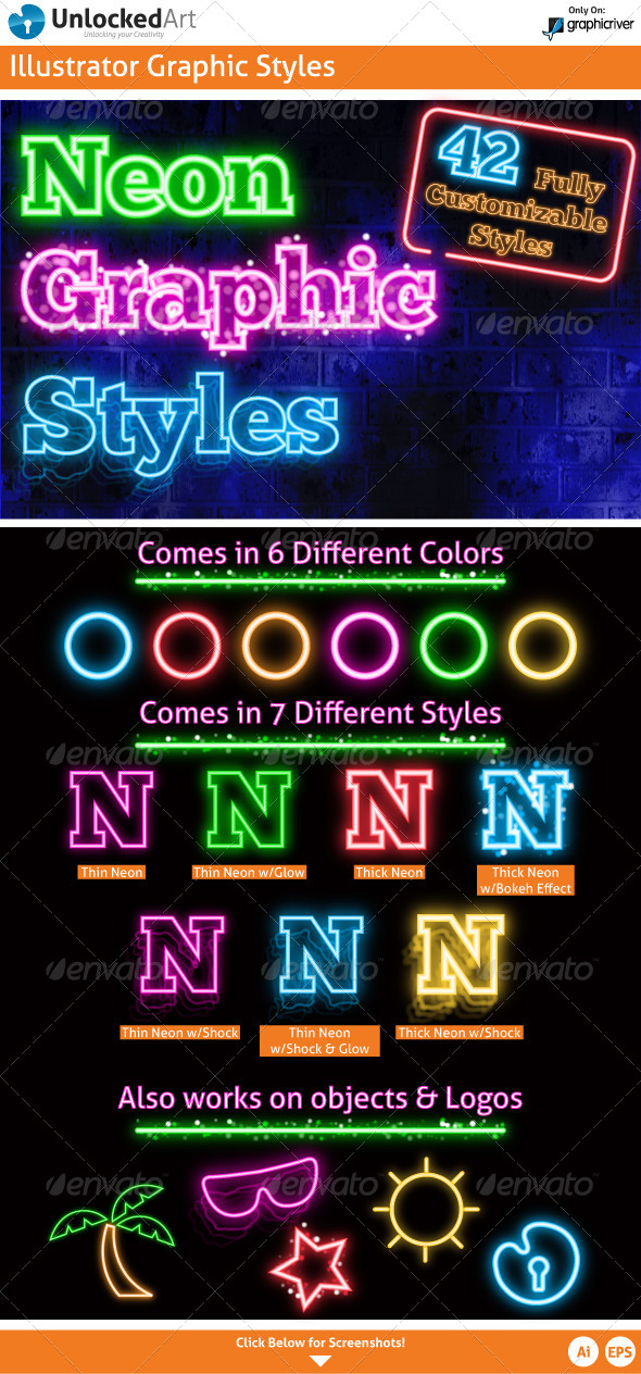 Neon Graphic Styles - Styles Illustrator