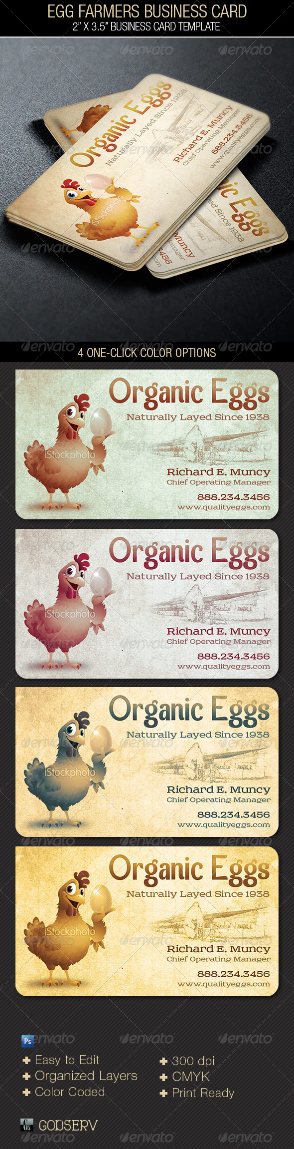 Egg Farmers Business Card - Industry Specific Business Cards