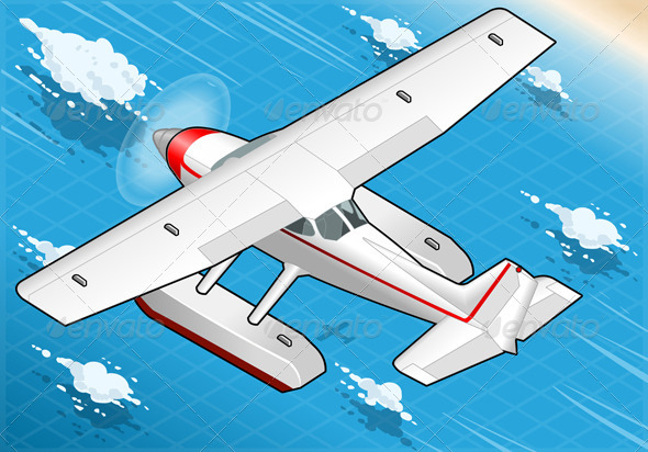 GraphicRiver Isometric Flying Seaplane in Rear View 5232628