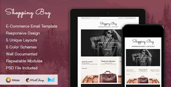 Shopping Bag - Responsive Ecommerce Email Template - Newsletters Email Templates
