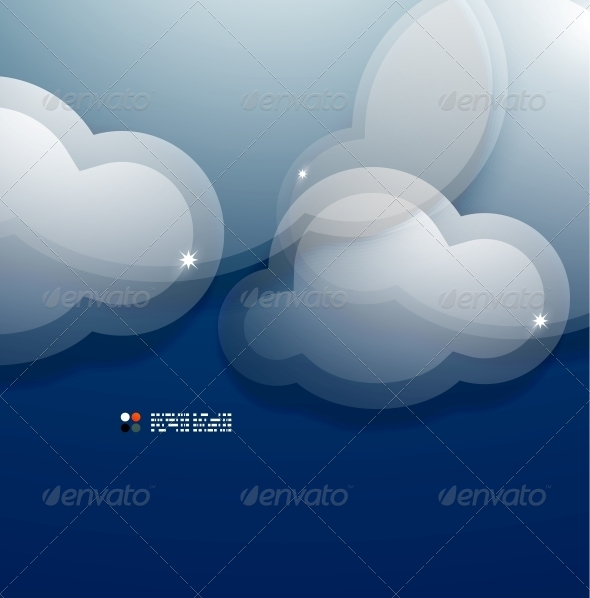GraphicRiver Glass 3D Clouds Vector Template 5235277