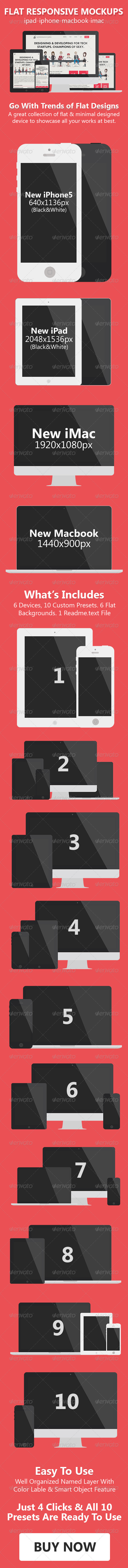 Flat Responsive Screen Mockups - Product Mock-Ups Graphics