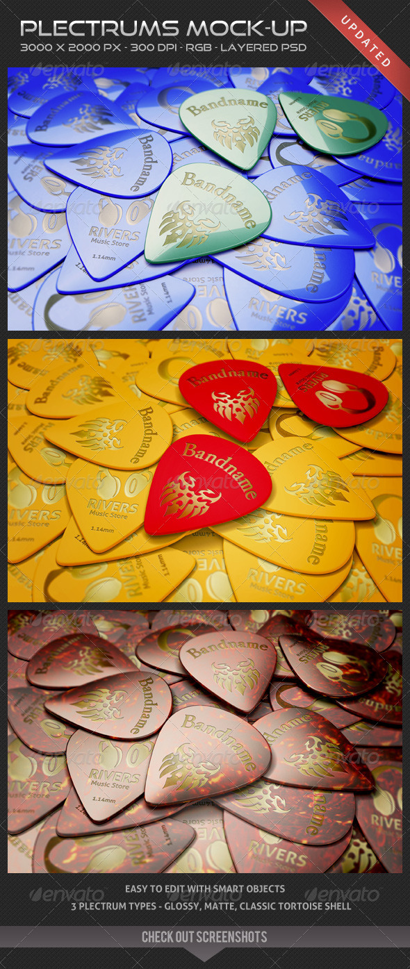 Plectrums Mock-up - Miscellaneous Product Mock-Ups