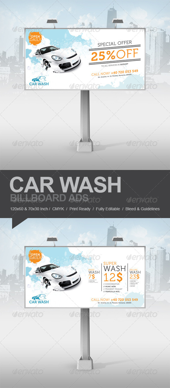 GraphicRiver Car Wash Billboard Ads 5183966