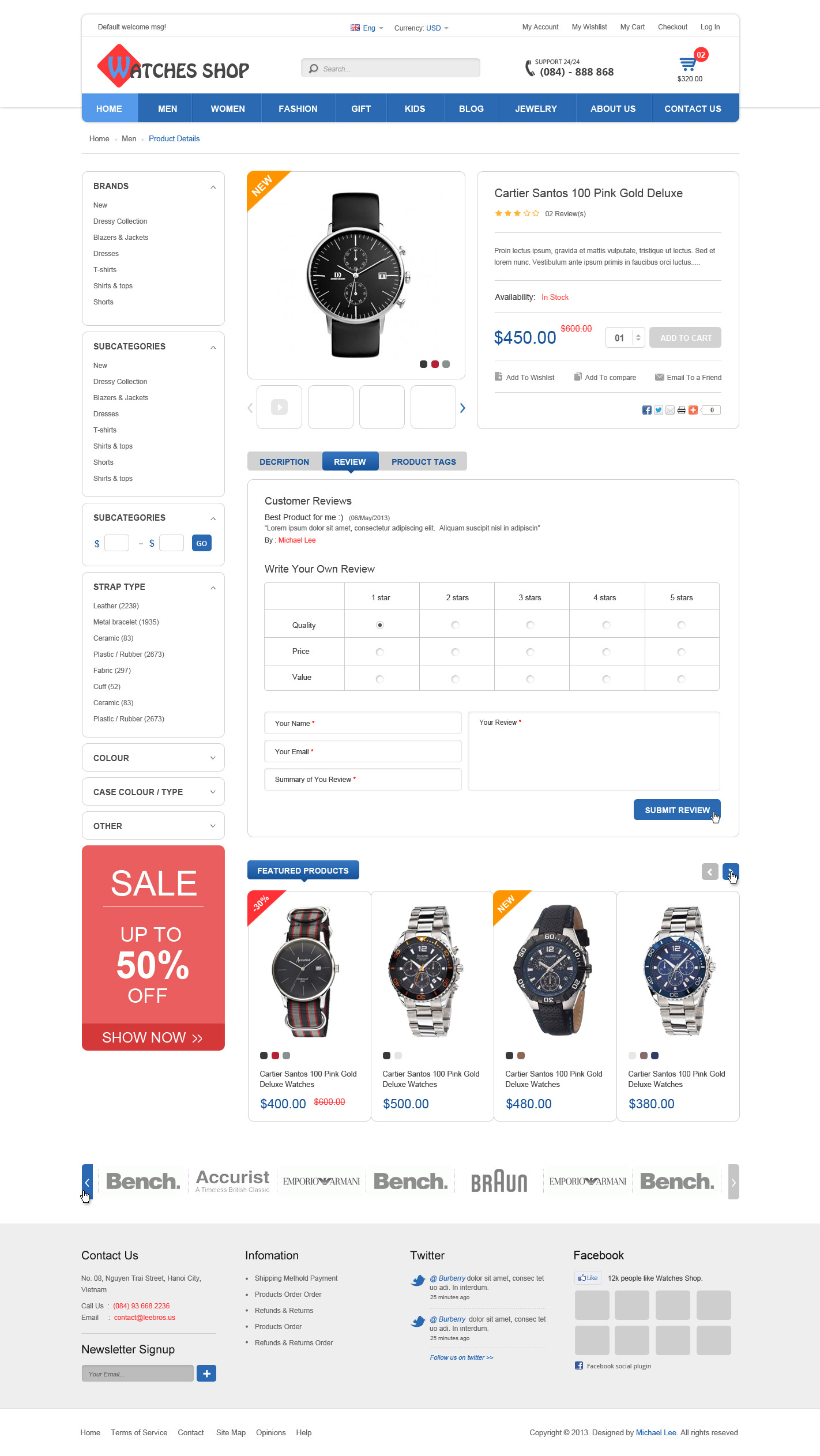 Watches Fashion Shop - PSD