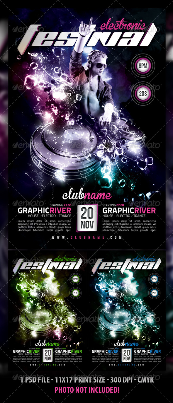 GraphicRiver Electro Dance Party Flyer 5238587