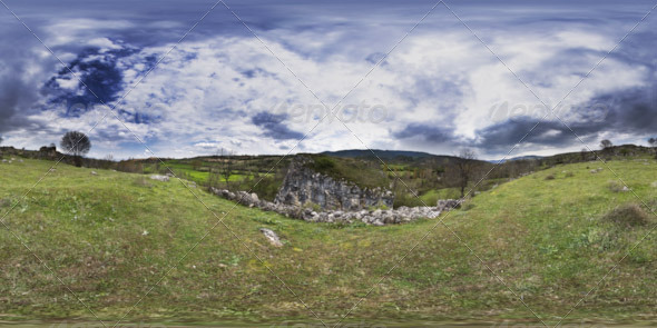 3DOcean HDRI Cloudy Sky Trees Grassy Land And Rock 5240248