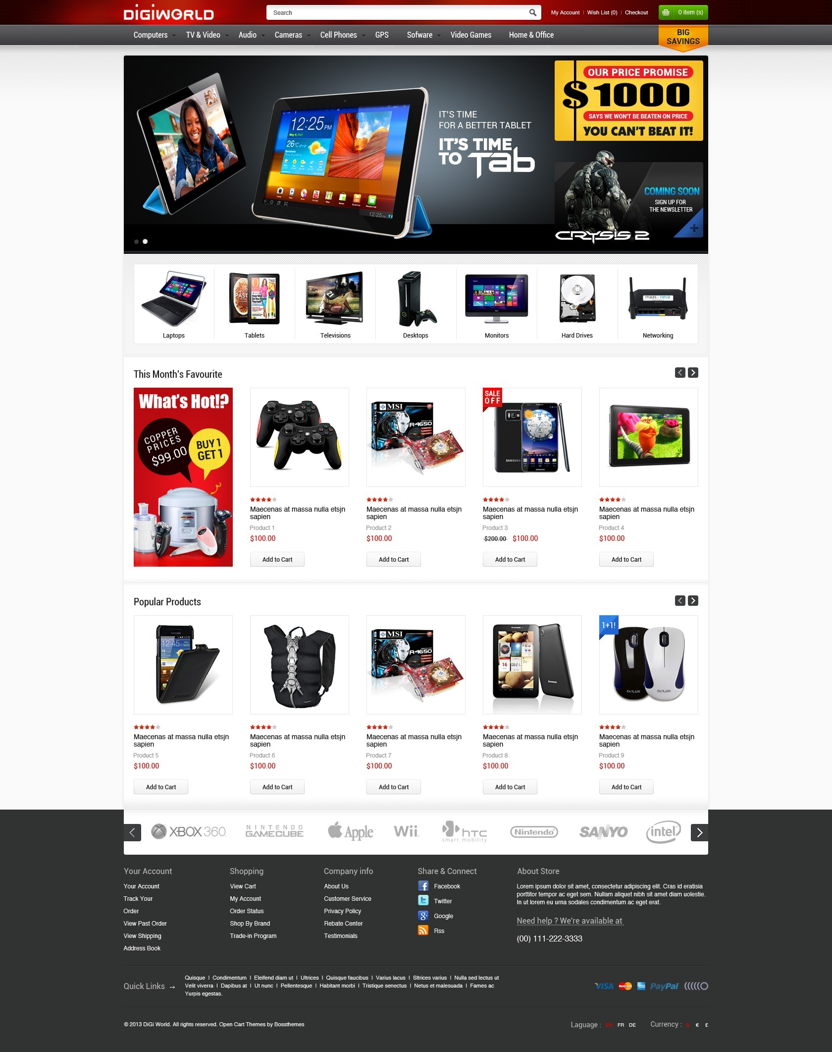 Premium Responsive OpenCart Theme - Digital World