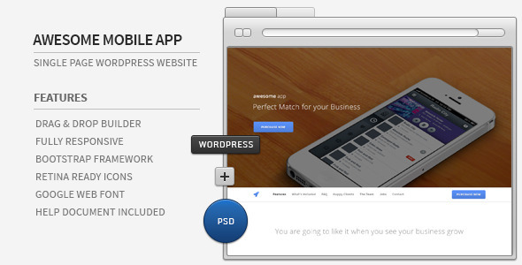 Awesome App - Responsive Parallax WordPress Showcase - Technology WordPress