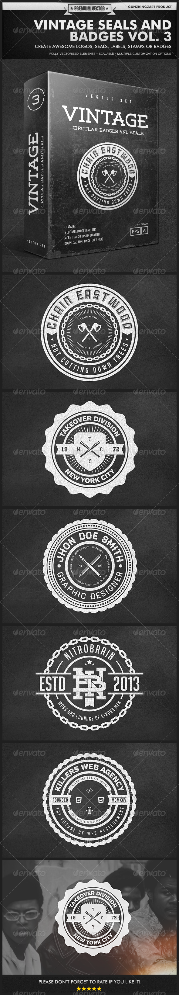 GraphicRiver Vintage Seals and Badges Vol 3 5243418