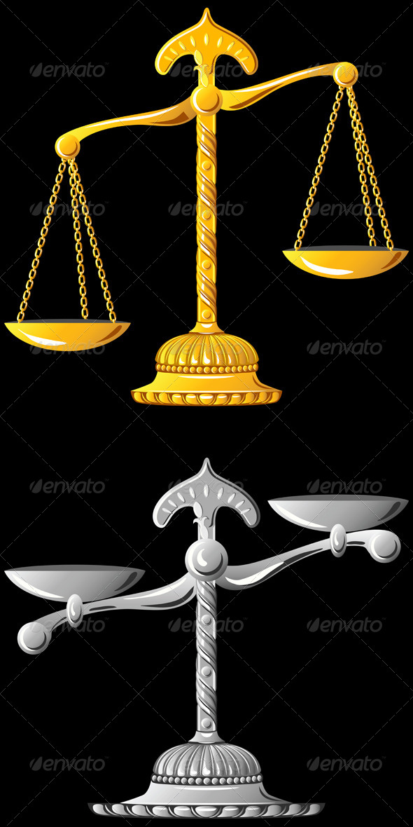 Vector Gold and Silver Scales of Justice - Man-made objects Objects