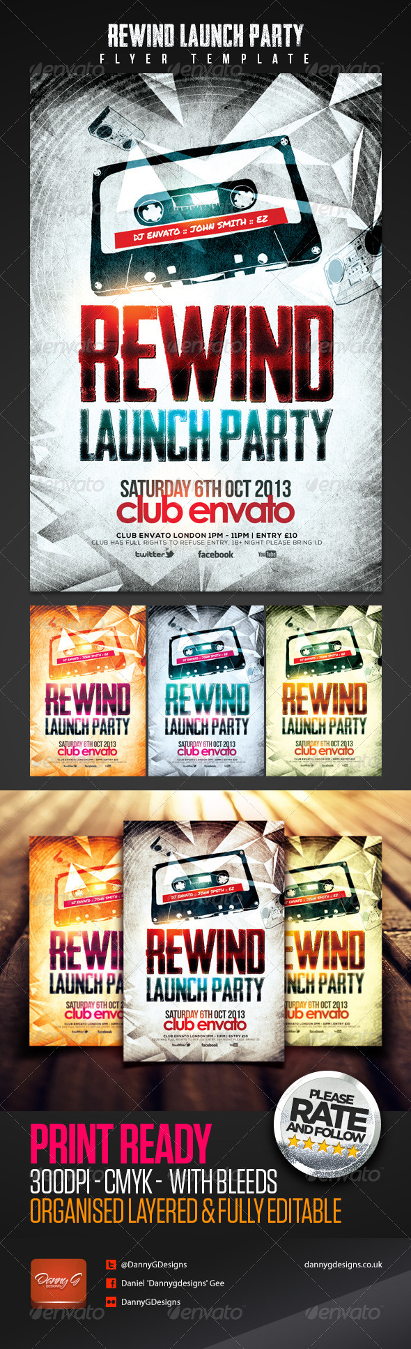 Rewind Launch Party Flyer Template - Clubs & Parties Events