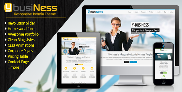 ThemeForest YbusiNess Responsive Joomla Business Template 5230566