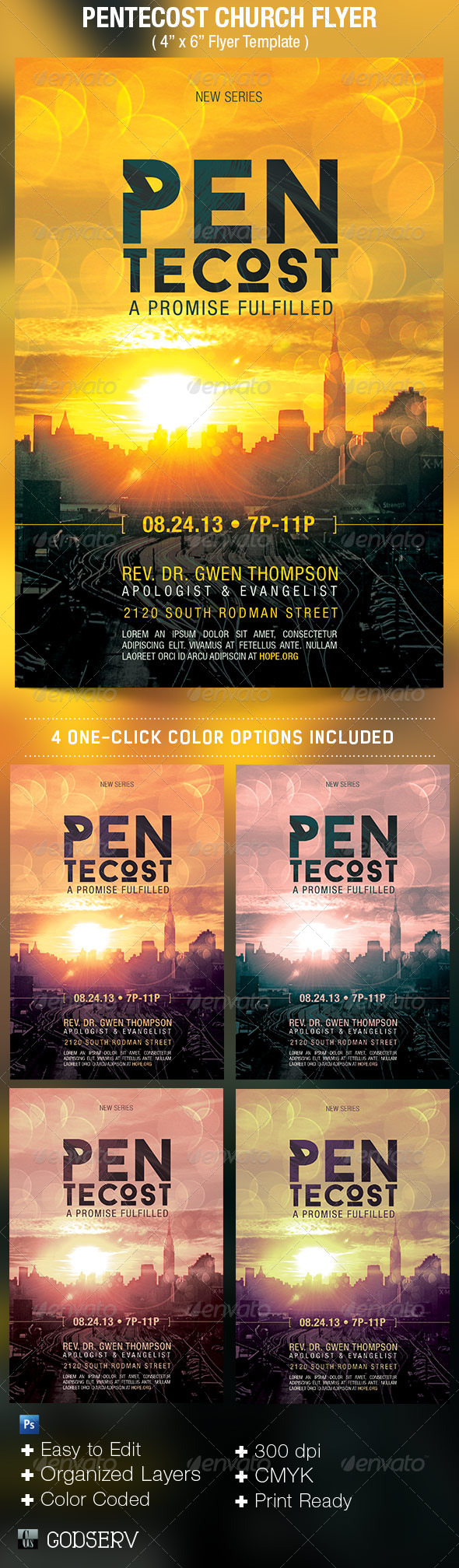Pentecost Church Flyer Template - Church Flyers