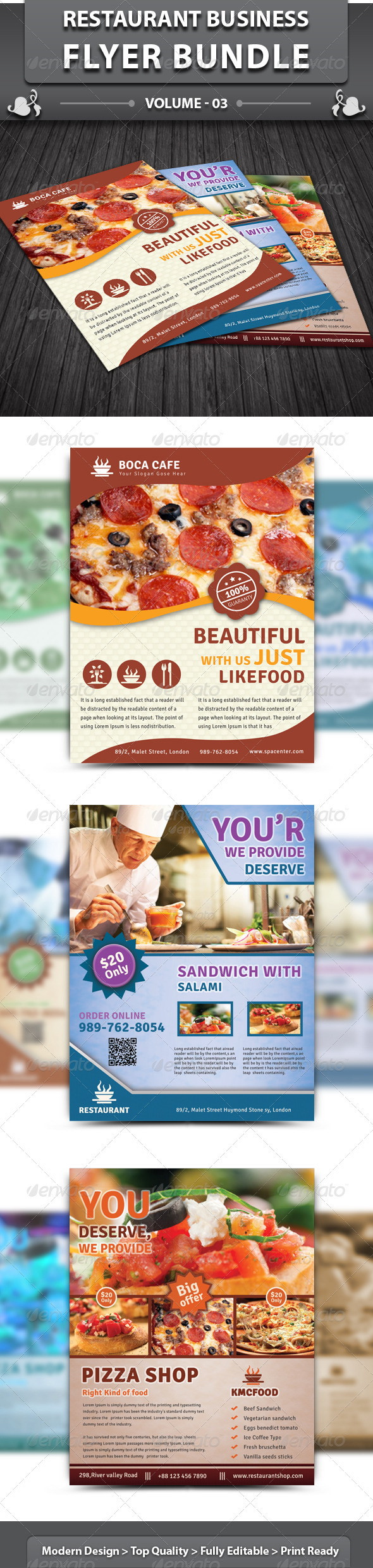 Restaurant Business Flyer | Bundle 3 - Restaurant Flyers