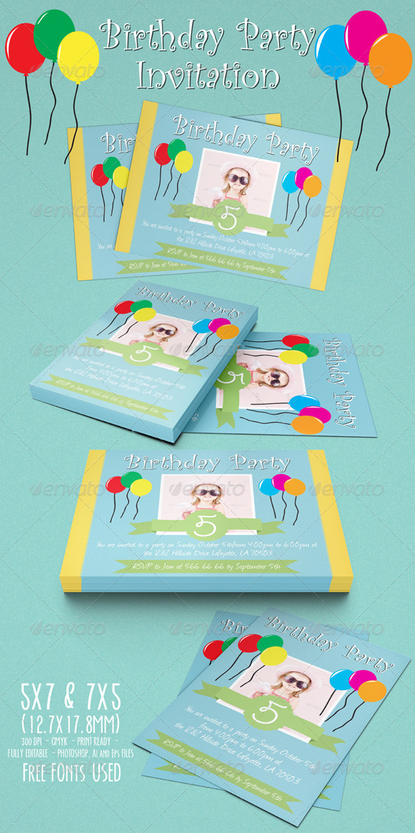 GraphicRiver Birthday Party Invitation 01 5175114