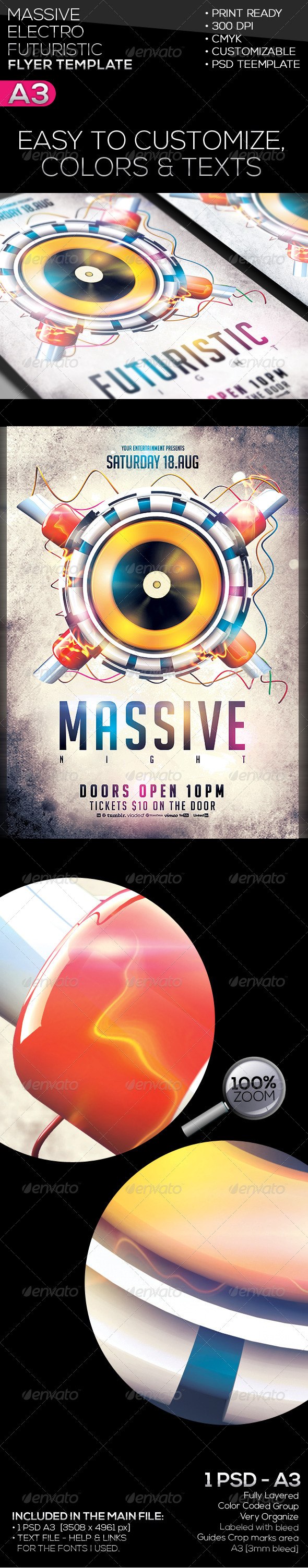 Massive | Futuristic | Electro Flyer Template - Clubs & Parties Events