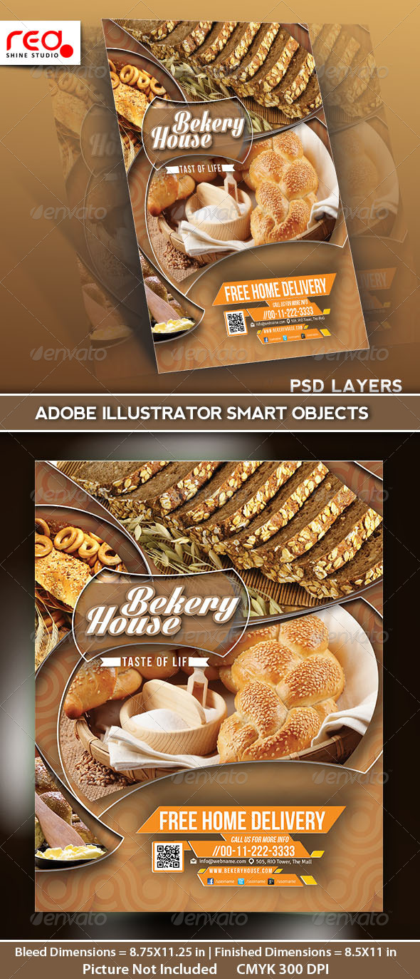 GraphicRiver Bekery House Flyer Poster Magazine Template 5246329