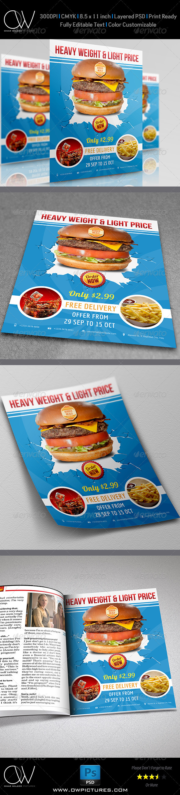 Burger Restaurant Flyer Vol.3 - Restaurant Flyers